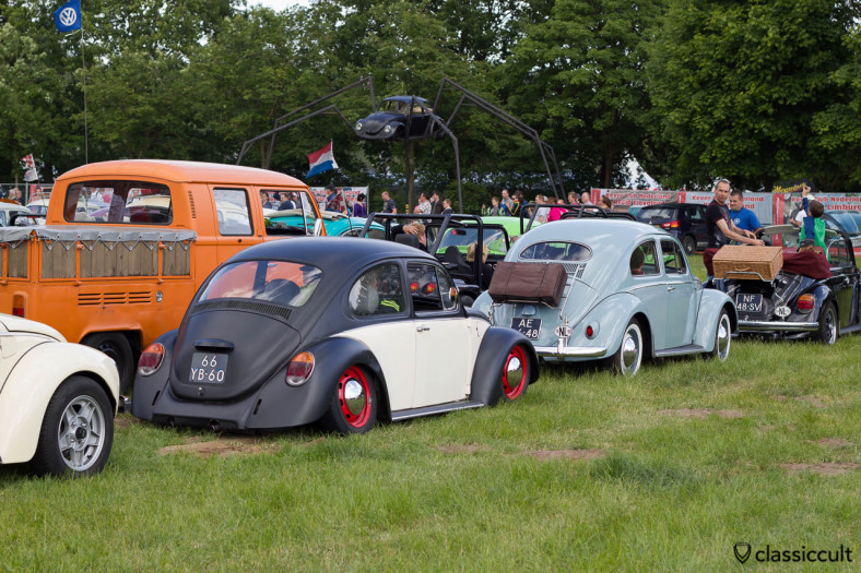 VW Bugs waiting for the Internationaal Kever Weekend Wanroij Road Trip, the cool VW Bug spider is in the background