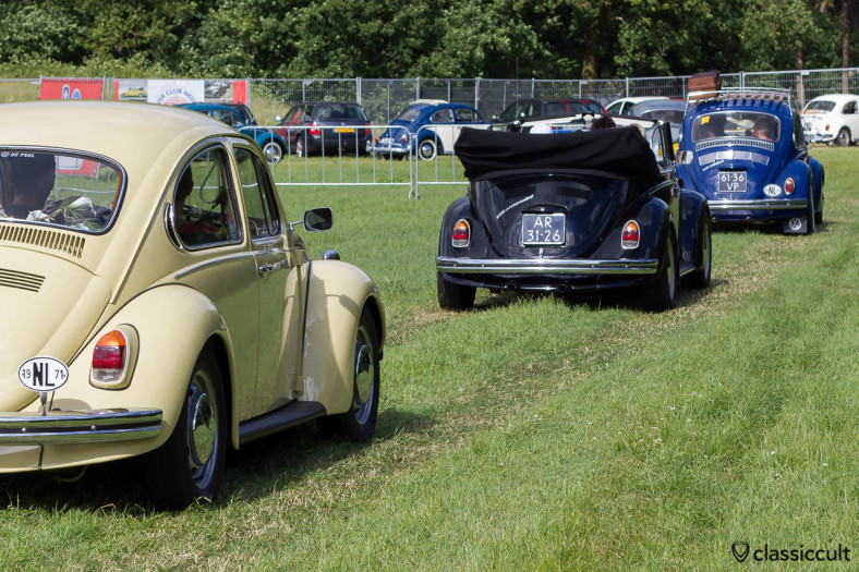 three VW Kever leaving Int. Kever Weekend Wanroij