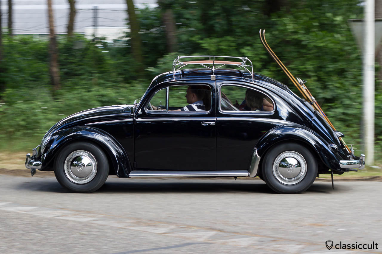 1954 VW Oval Bug with ski holder leaving Internationaal Kever Weekend Wanroij 2013