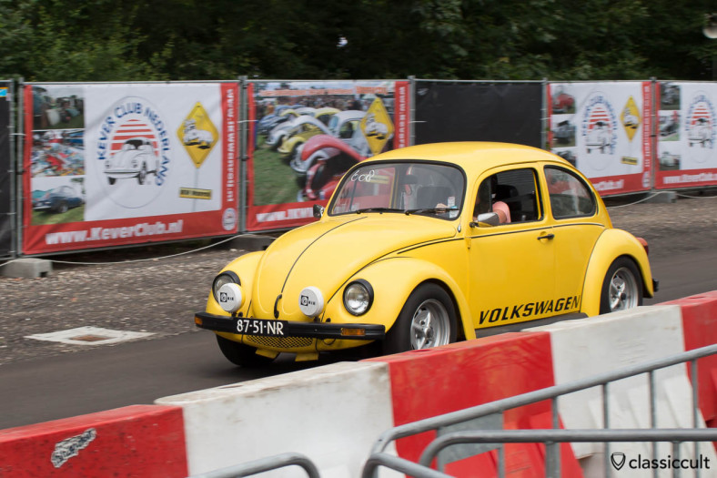 yellow sprint VW Bug with cibie lights