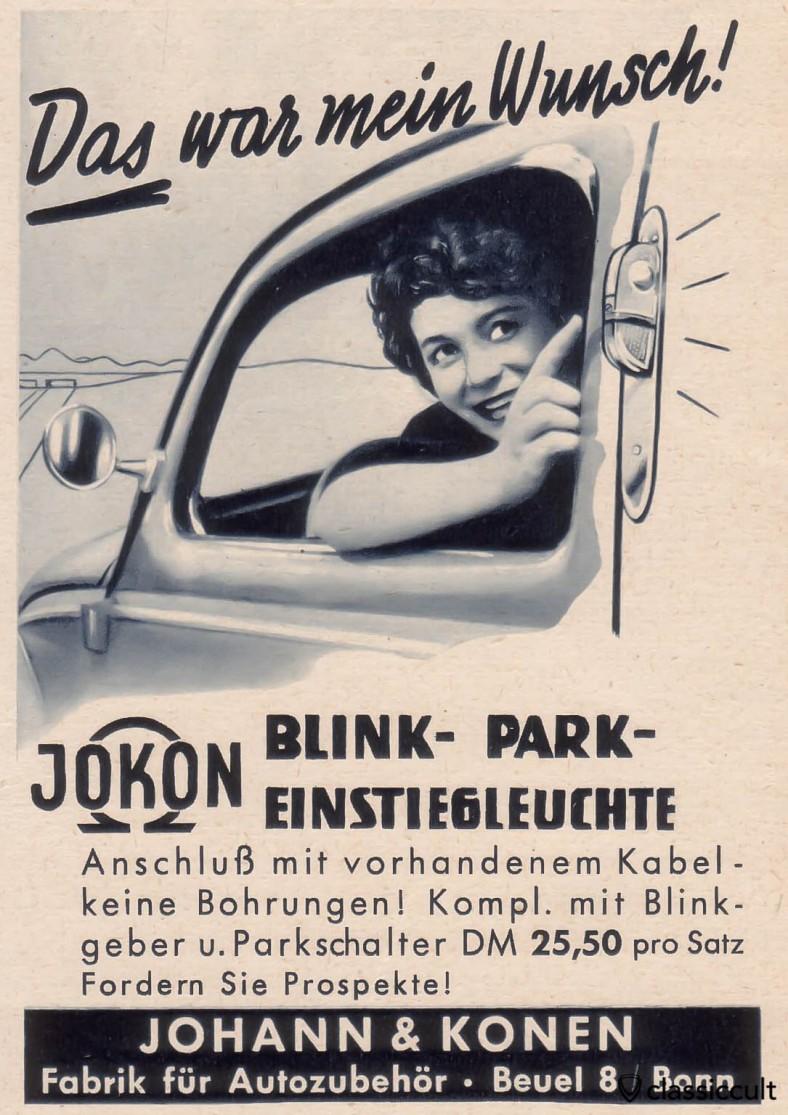 au lieu de sémaphores, vous pouvez mettre ces Jokon tourner stationnement de signal et d'embarquement des lumières sur votre VW Split et Oval, source: Gute Fahrt Magazine 09/1958