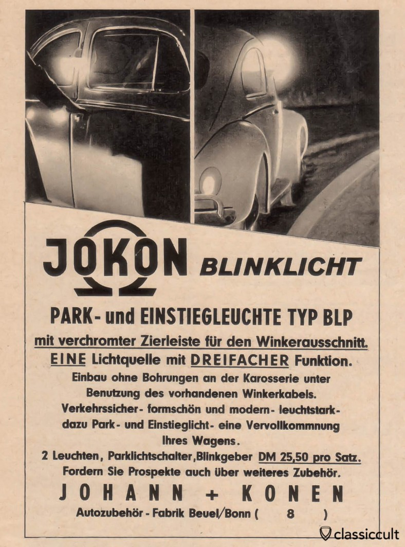 Jokon feux de stationnement sémaphores pour VW Bug, source: Gute Fahrt Magazine 01/1960