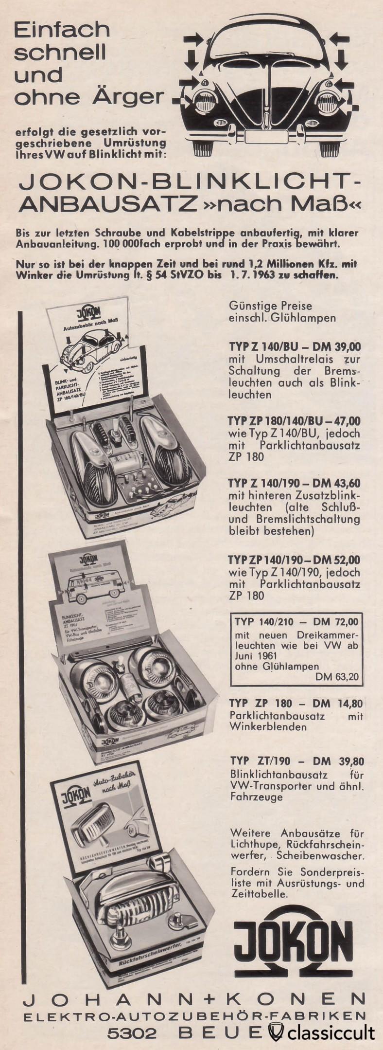 VW Beetle et T1 Bus clignotants feux de stationnement fabriqués en Allemagne par Jokon, source: Gute Fahrt Magazine 06/1963