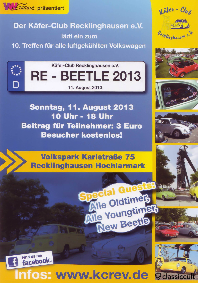 VW Käfer Club Recklinghausen VW Treffen 11.08.2013 Flyer