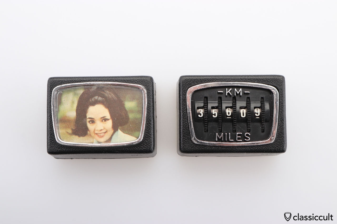 Vintage KM MILES counter with matching photo frame
