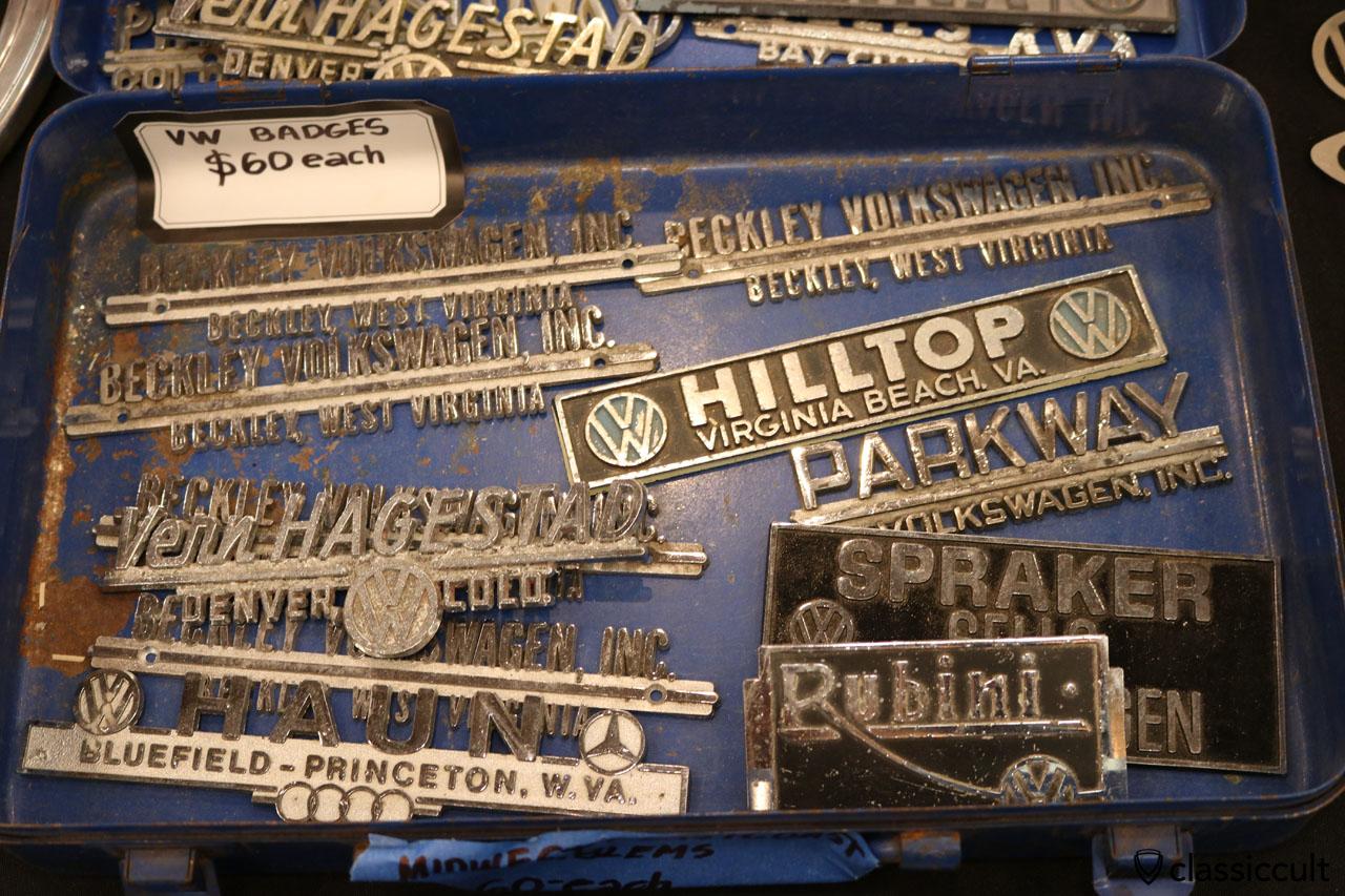 VW Dealer Badges, only 60 USD