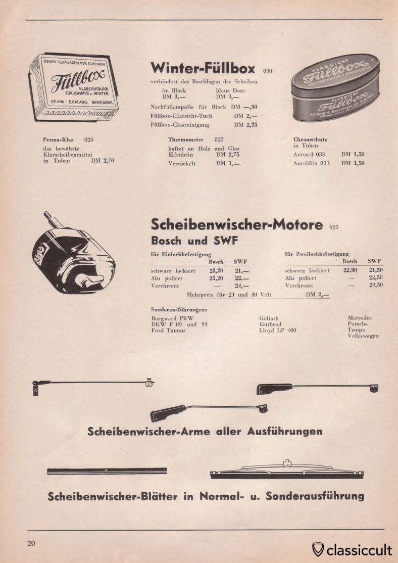 Bosch and SWF wiper motors