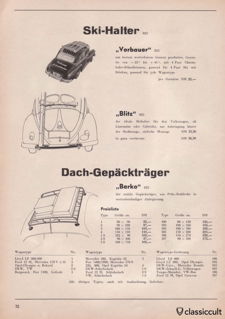 Ski racks for VW split bug