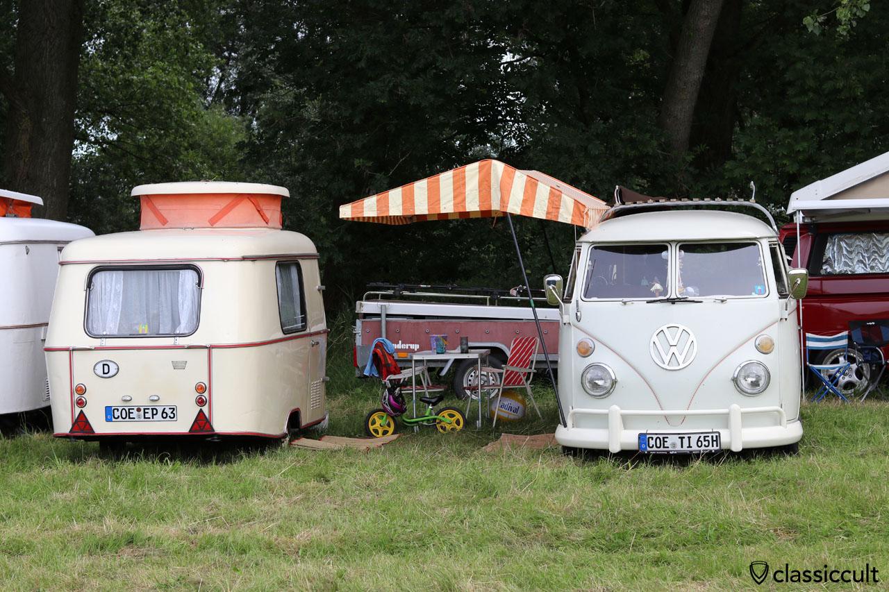 fein fein, period correct camping am Elbstrand von Krautsand mit 1965 VW T1 Camper und 1963 Eriba Puck Wohnwagen, Küstendrive 2016, Drochtersen