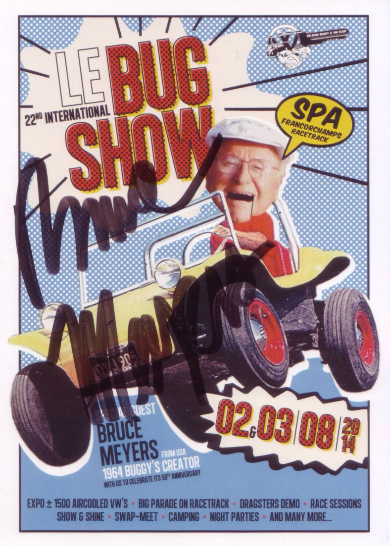 Le bug show Spa 2014 Flyer with Bruce Meyers signature
