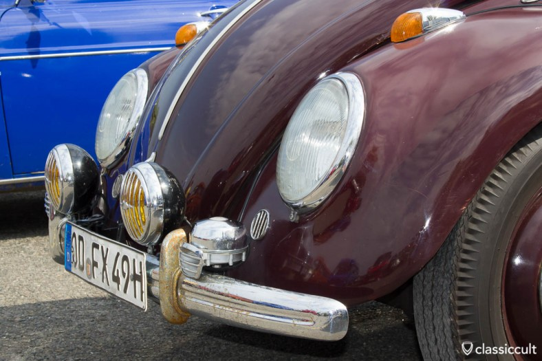 VW Bug with Hella stone gutter fog lights and Bosch fanfare horns