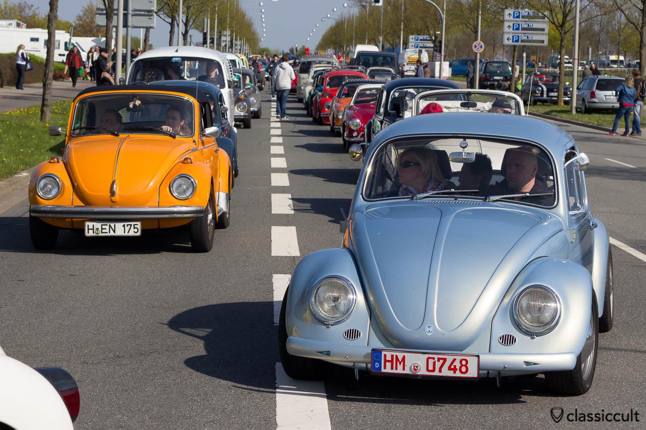 Luftgekühlte VW Stau vor dem MKT Gelände