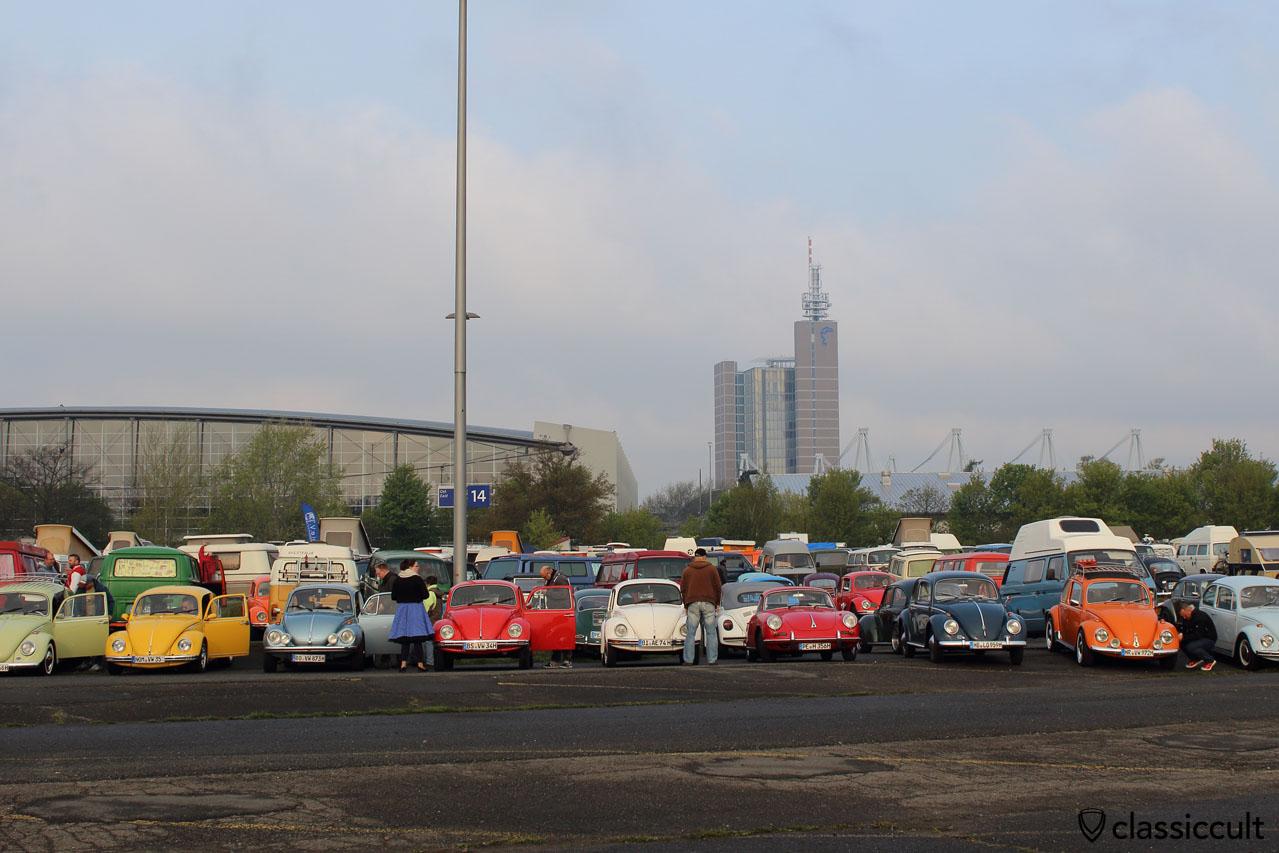 my indigo 1959 VW Beetle parking at Maikaefertreffen 2016, 7:56 a.m.