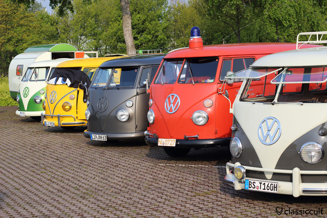 VW T1 Fire Bus with blue roof flash light and original height, the others are lowered for the low & slow feeling