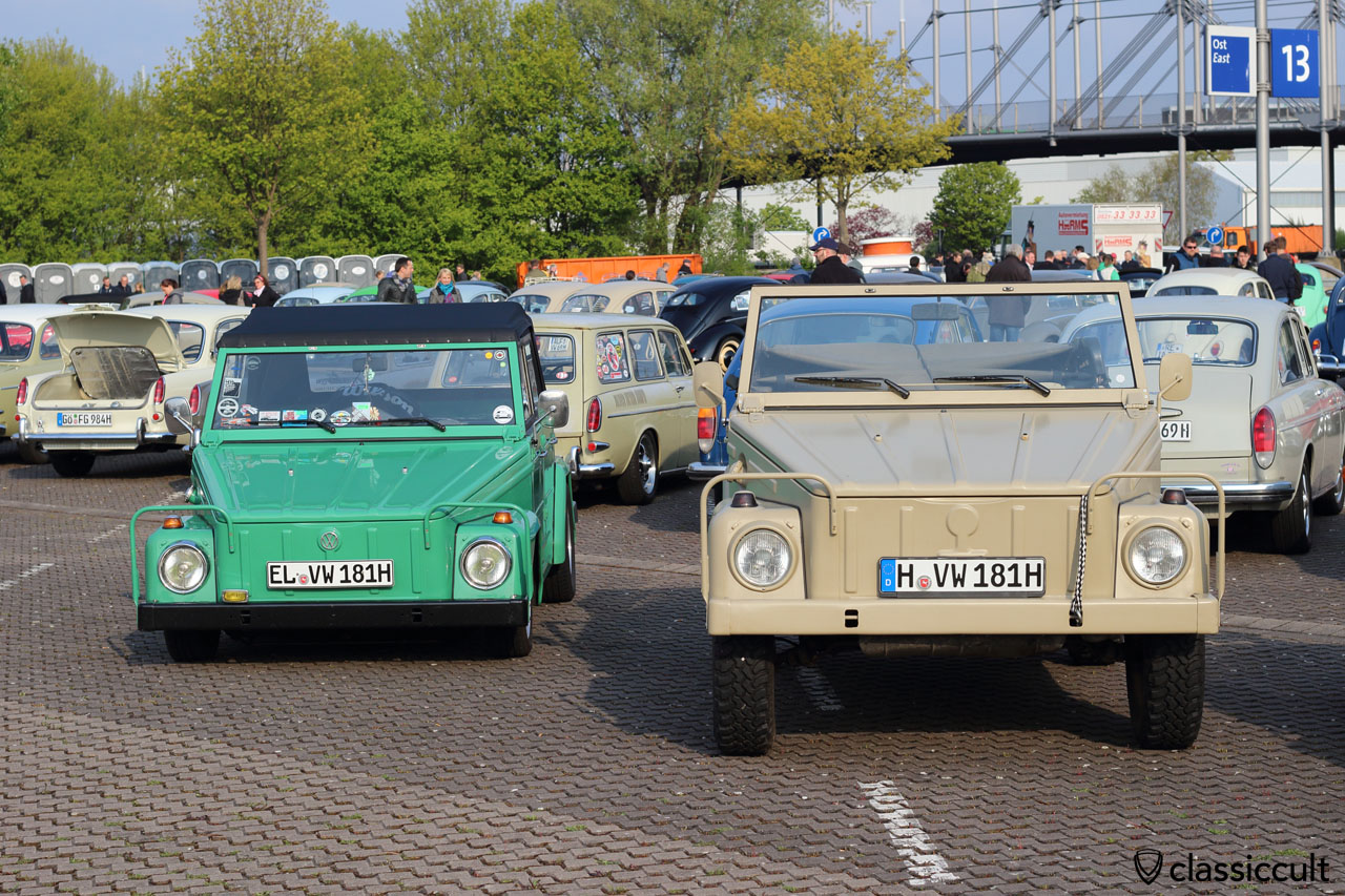 VW 181, left lowered, right original height