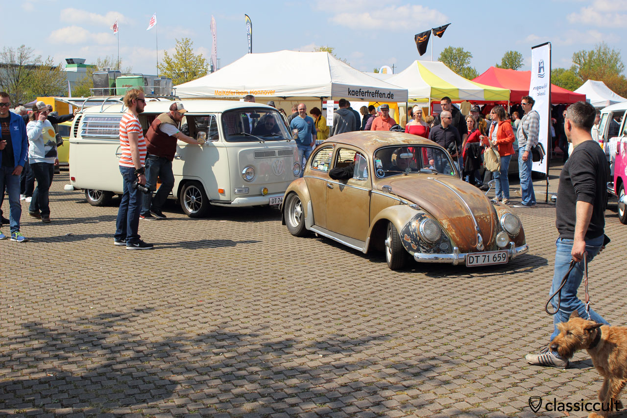 Patina VW Beetle with Headlight Stone Guard Grills waiting for Show & Shine