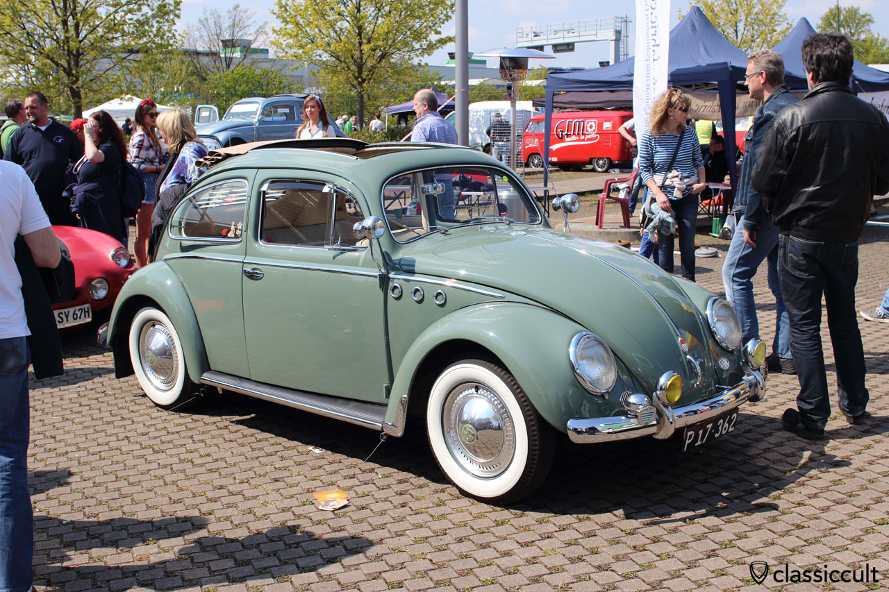 Ragtop VW Oval Beetle with Hella bumper guard foglights and Hella fanfare horn
