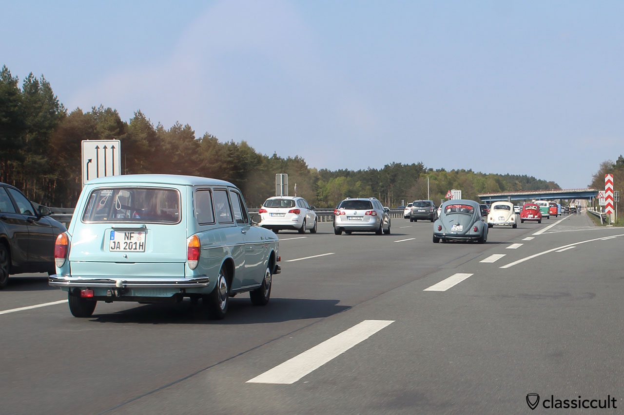 Aircooled VWs cruising at the Autobahn after MaiKäferTreffen VW Meeting 2016, 4:00 p.m.