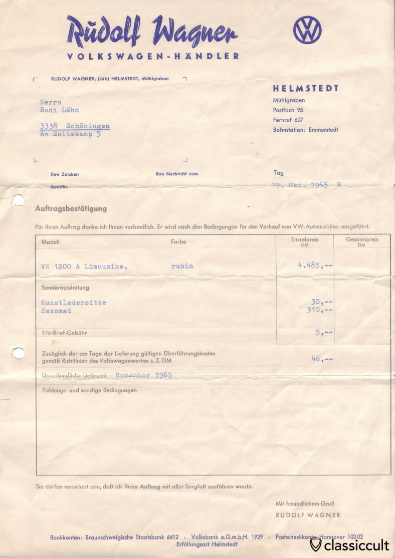 1965-10-19: VW 1200A Order confirmation