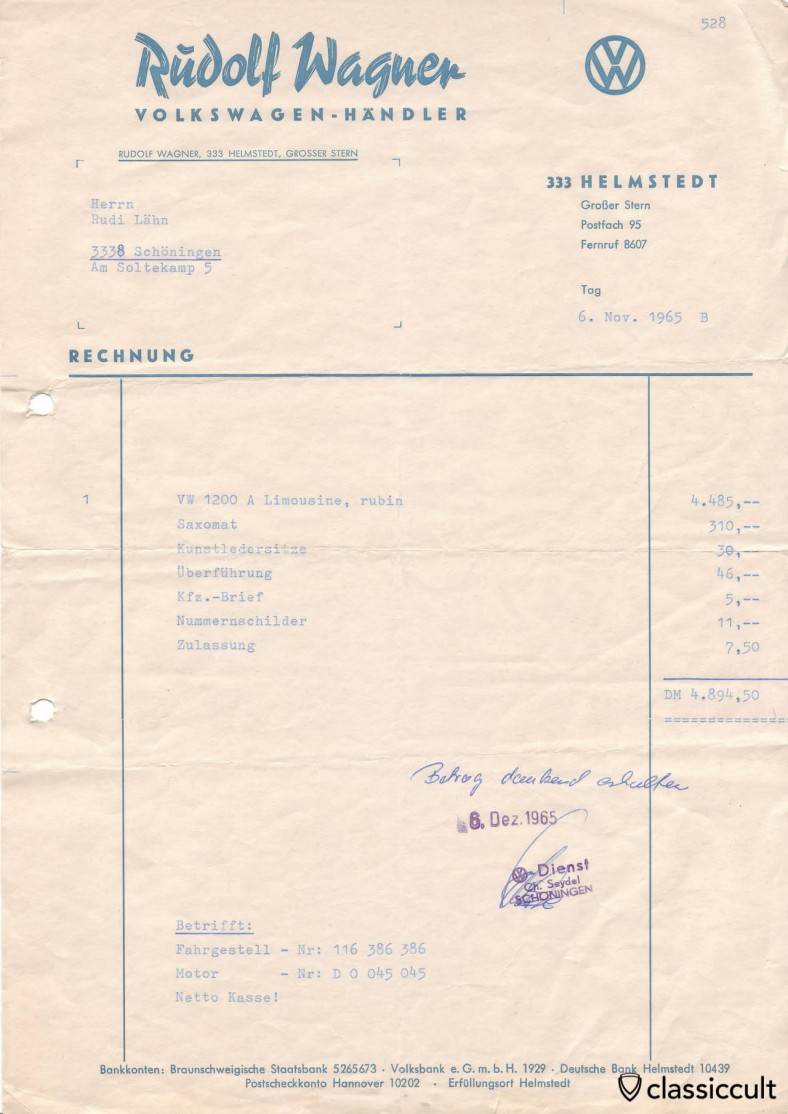1965-11-06: VW 1200A rubin invoice. Total was 4894,50 DM (about 2500 EUR) including Saxomat, leatherette seats, transfer, registration paper, number plates and registration.