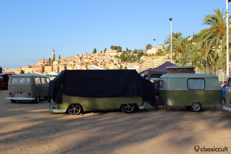 T1 Split Bus at Menton VW Show 2014 at 7:45 a.m., owner is sleeping.
