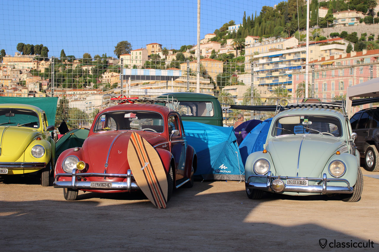 VW Beetle with surfboard, Menton 2014