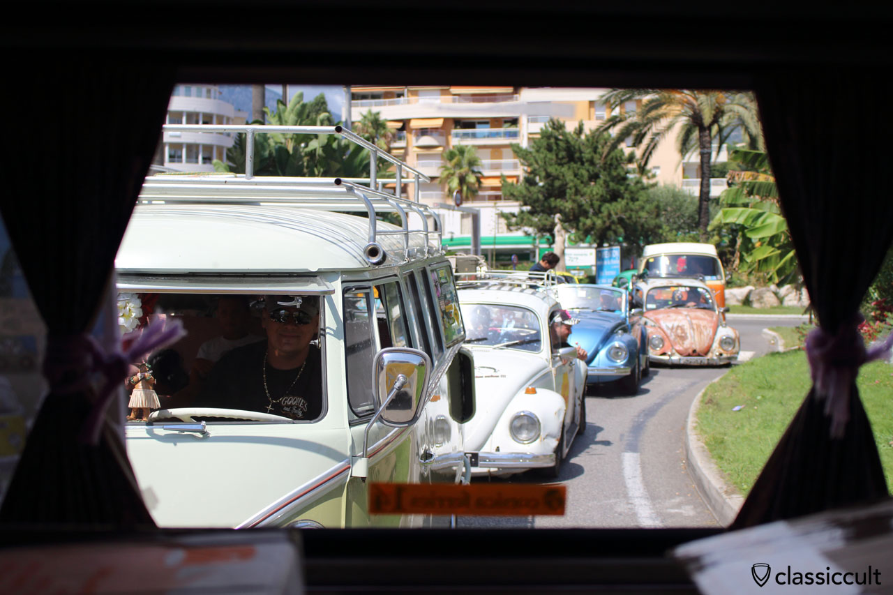 Cox d'Azur VW Meeting touristic rally from Gorbio back to Menton Beach 2014. The picture was taken out of a T2a Bus.