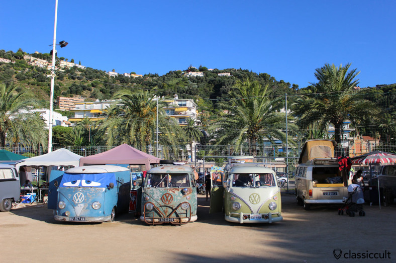 VW Combis camping at the Promenade du Soleil close to the Menton beach