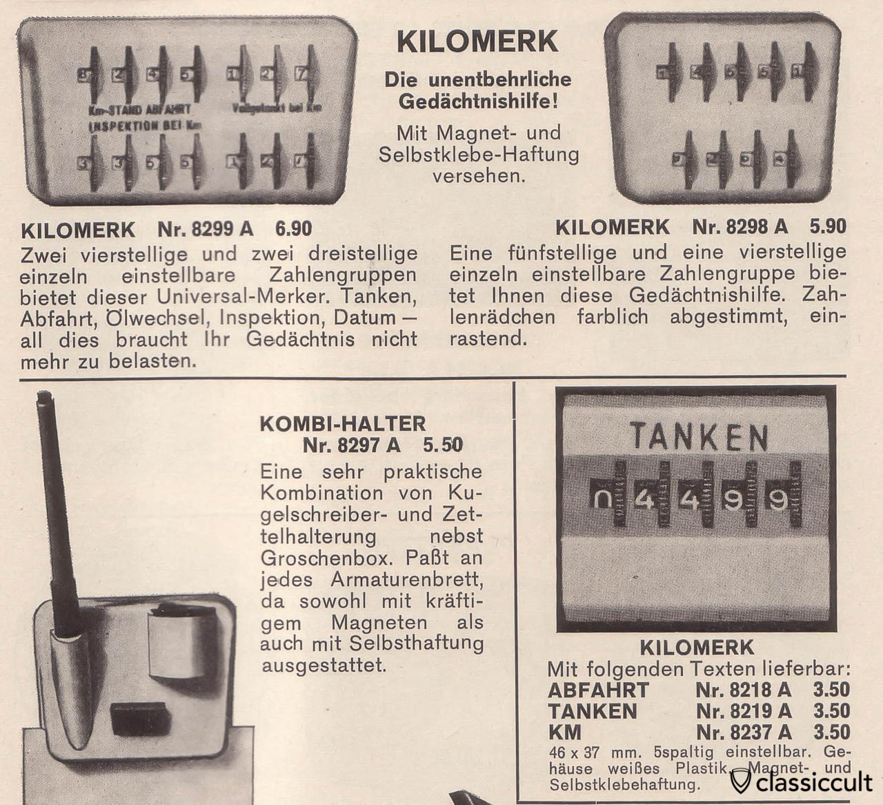 Mileage Fuel KM remind counter 1968