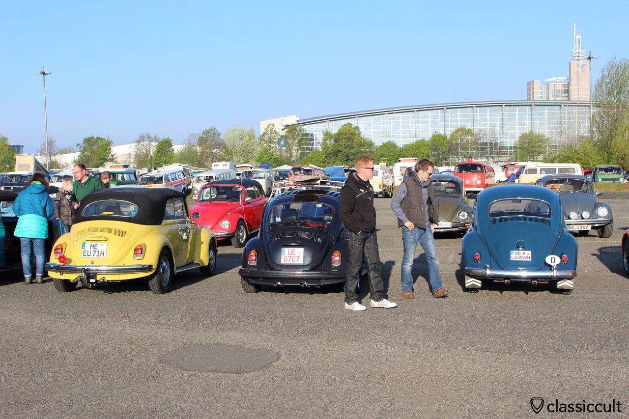 Mein 1959 VW Käfer nach der Ankunft auf dem Parkplatz um 7:45 Uhr.