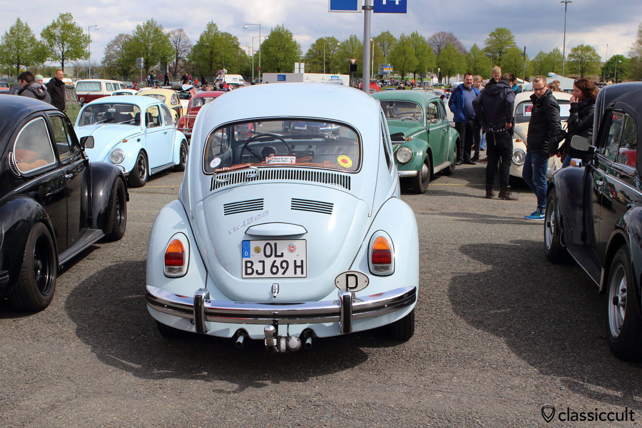 VW Käfer 1500, BJ 69, diamant blau, Heckansicht