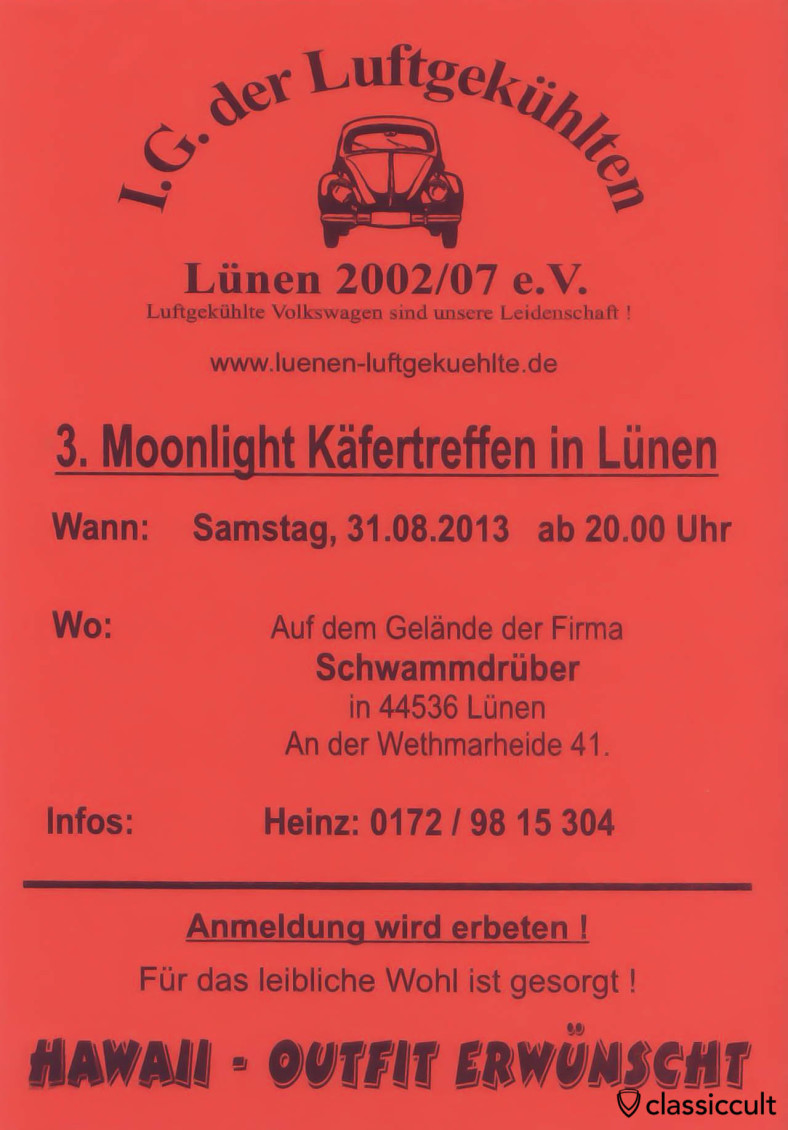 3. Moonlight VW Käfertreffen in Lünen am 31.08.2013 Flyer