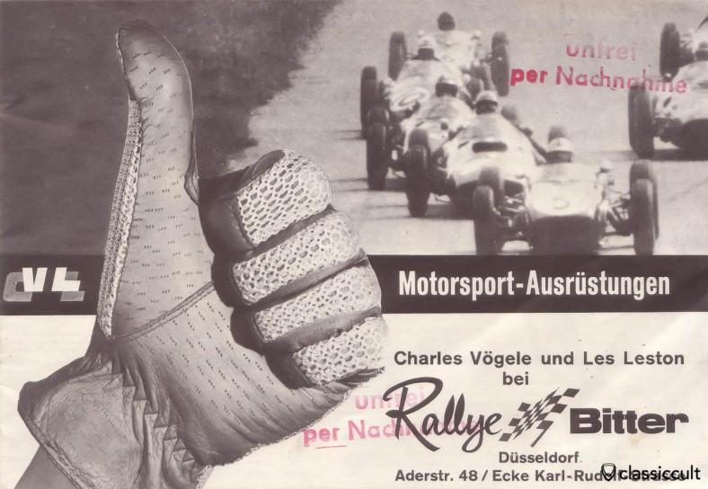 Vintage Motorsport Accessories Rallye Bitter Germany 1960