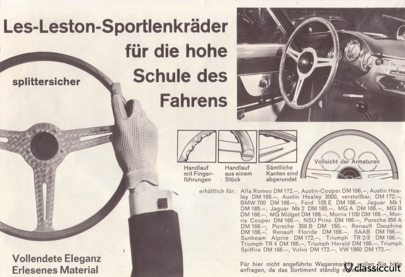 Les-Leston Sports steering wheel for Porsche 356 and VW Bug 1960