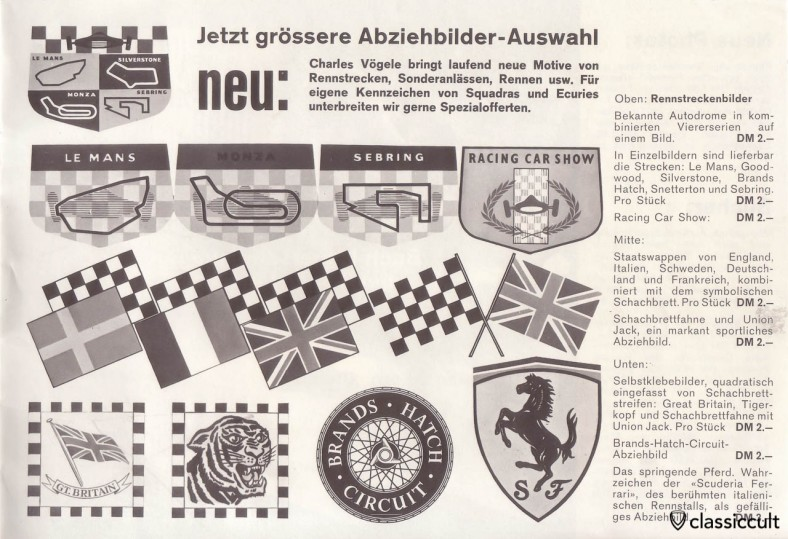 Vintage Le Mans, Monza, Sebring, Silverstone Decals