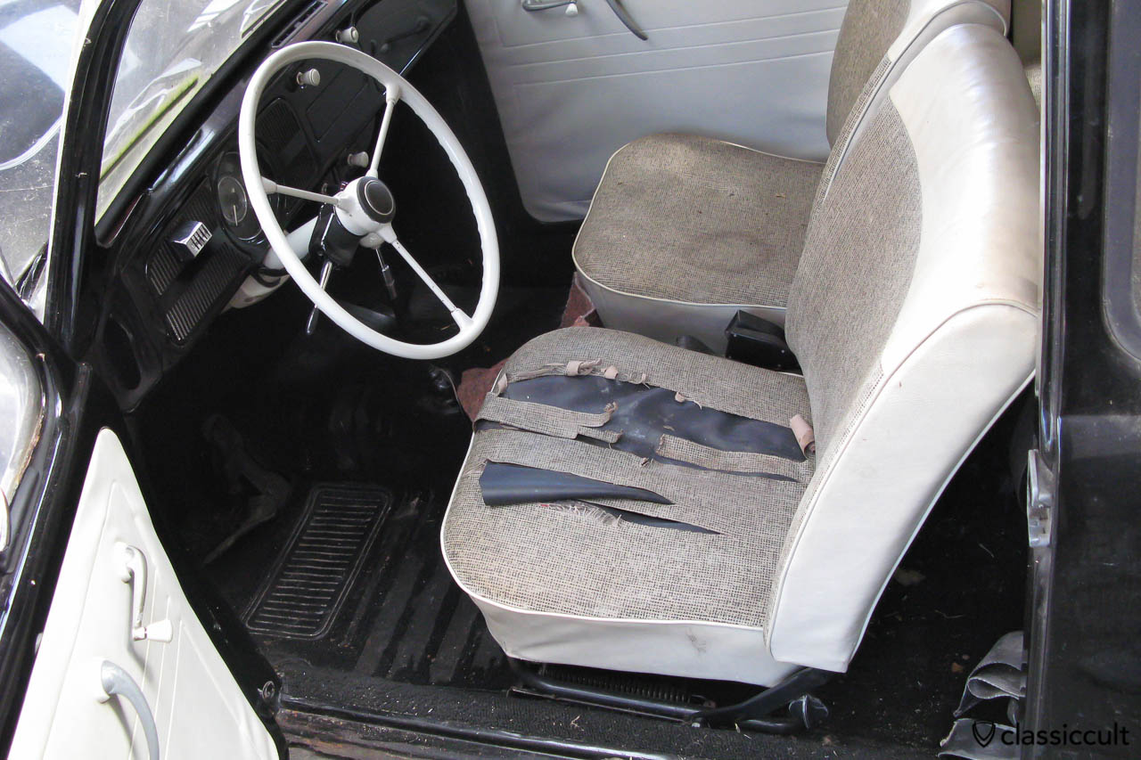 My VW Beetle 1200A inside before restoration