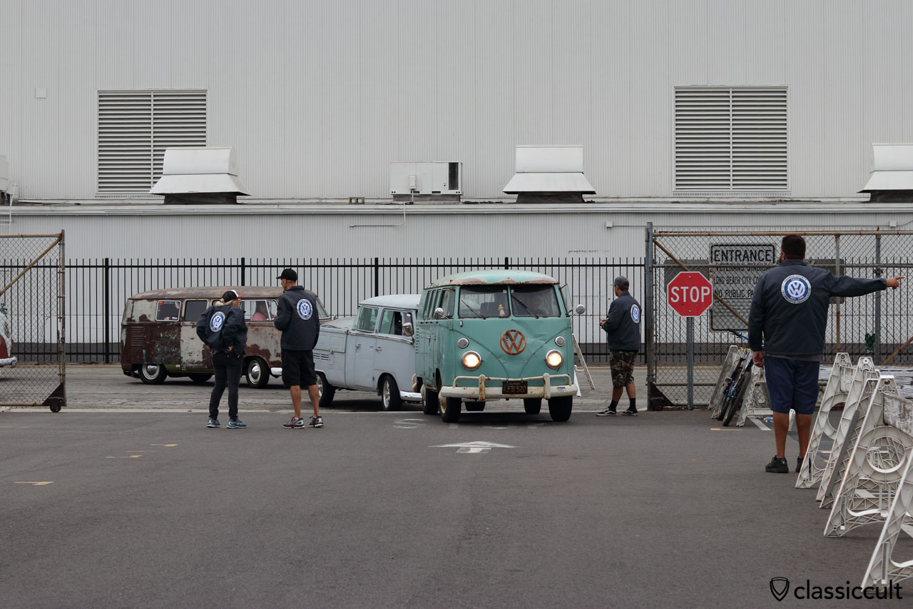 VW Bus Fans just arrived at the O.C.T.O. entrance, 7:34 a.m.