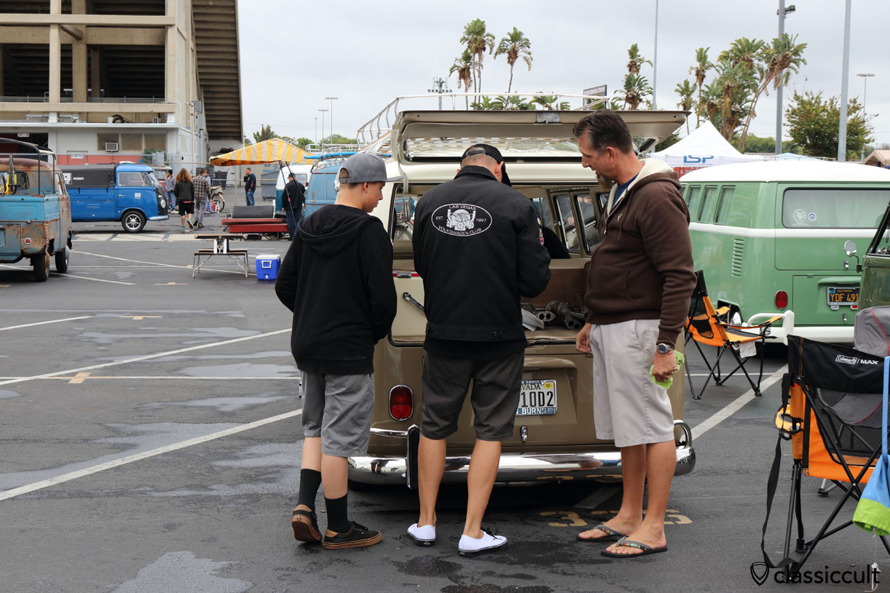 VW Fans from Las Vegas Nevada VW Club, enjoying the rain in California, the owner of the nice Split is on the right side