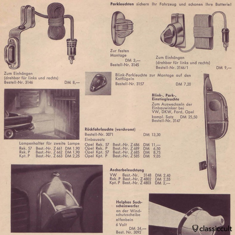 Park lights for VW Oval and Split, source: german car accessories catalog 1960