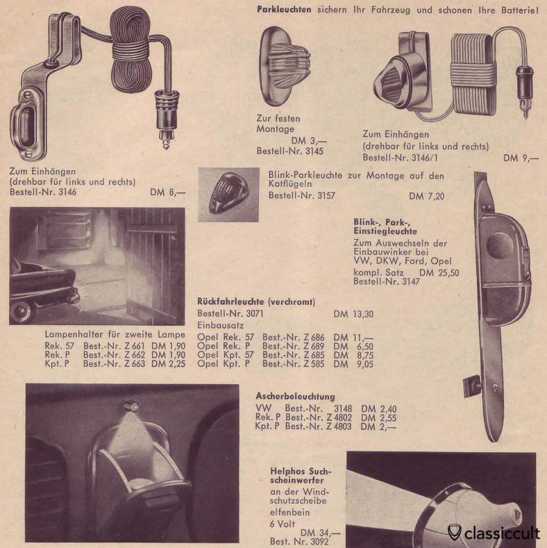 feux de stationnement pour VW Oval et Split, la source: accessoires automobiles allemands catalogue 1960