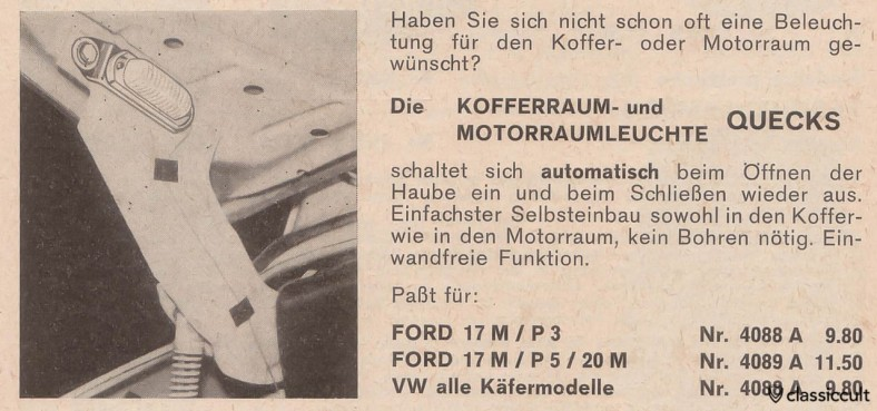 scanned from the German car accessory catalog Auto Ausstattung 1967-1968