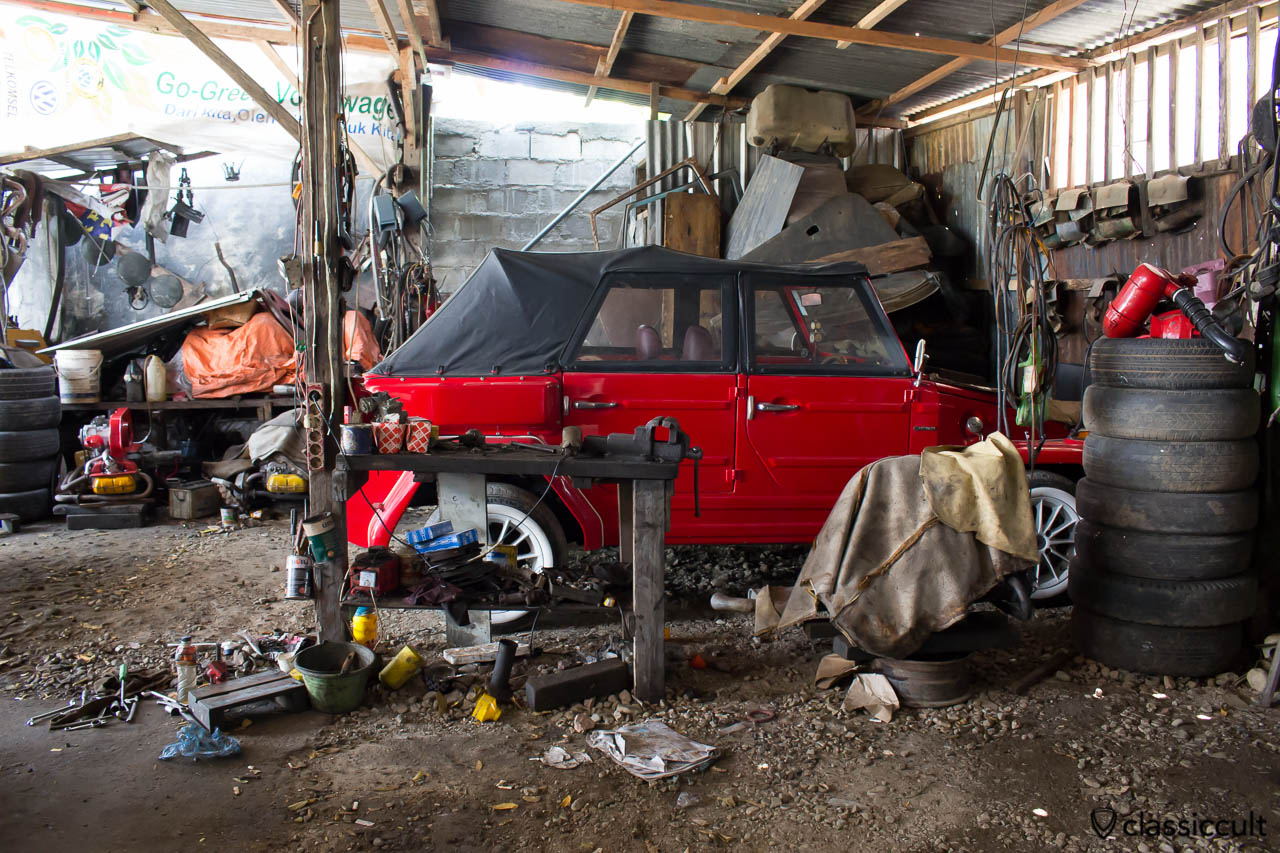 red VW 181 civil with soft top