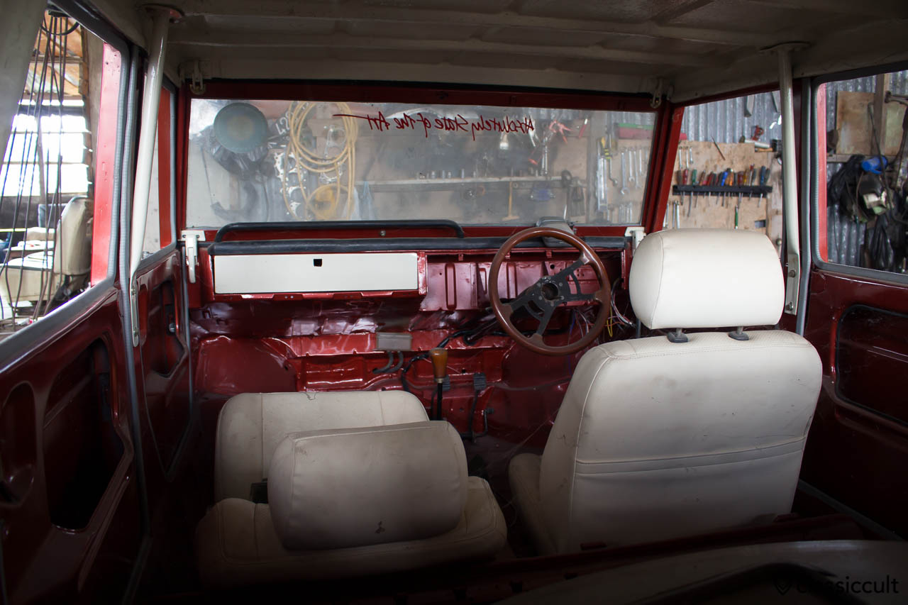 red white VW 181 civil with hard top