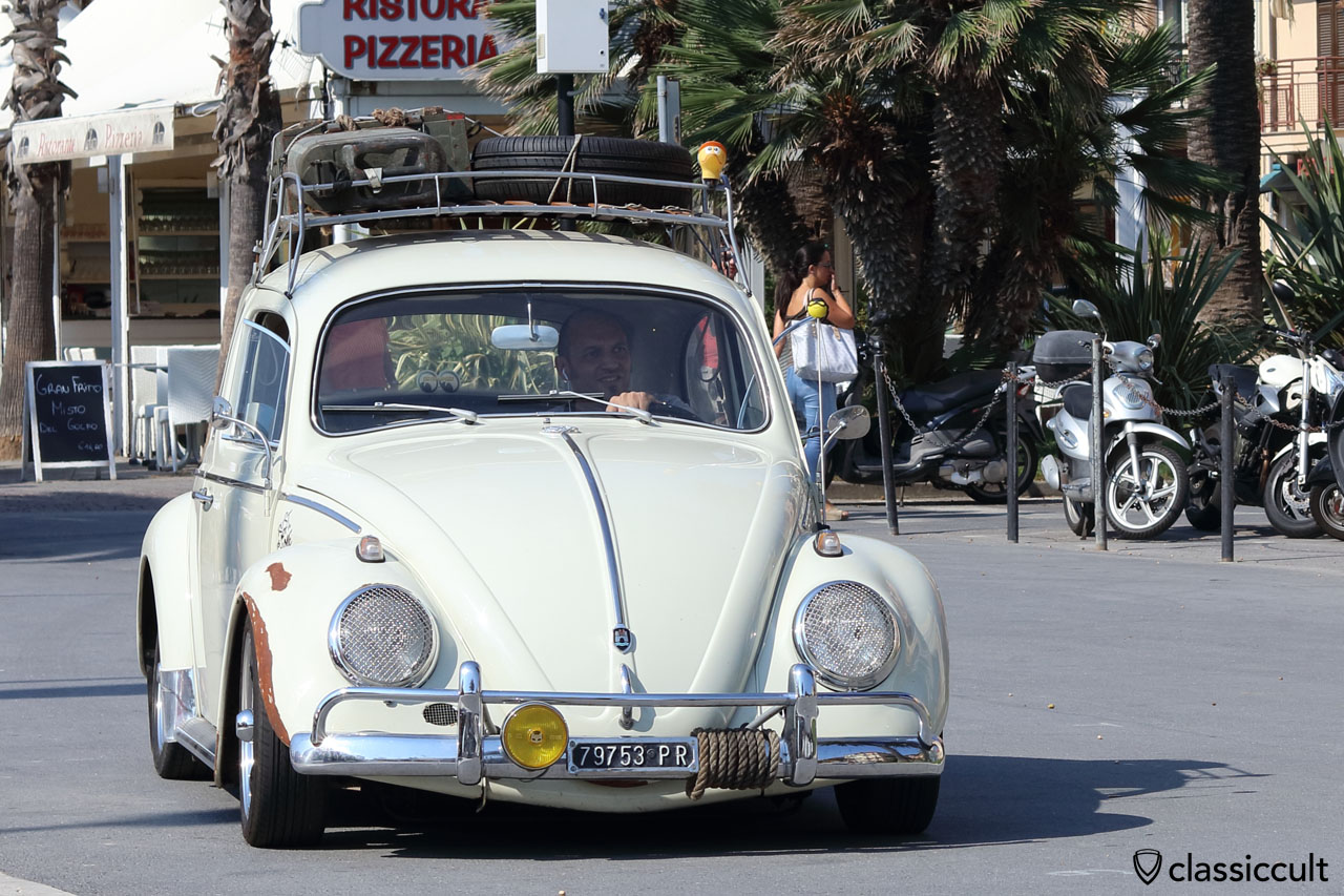 lowered VW Bug with roof rack