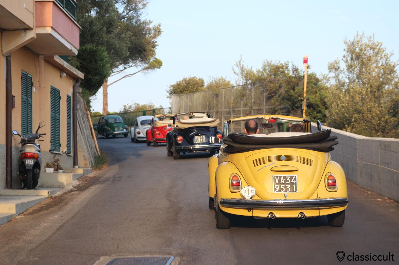 VW Maggiolino Cabrio cruising to the Terrerosse Camping, 6:27 p.m.
