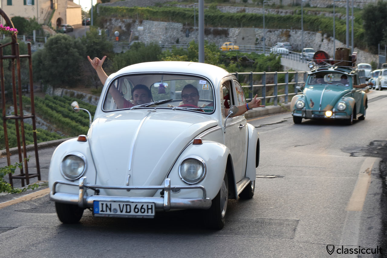 Happy VW Fans from Germany with a 1966 Beetle in the Le Manie plateau Finale Ligure Italy