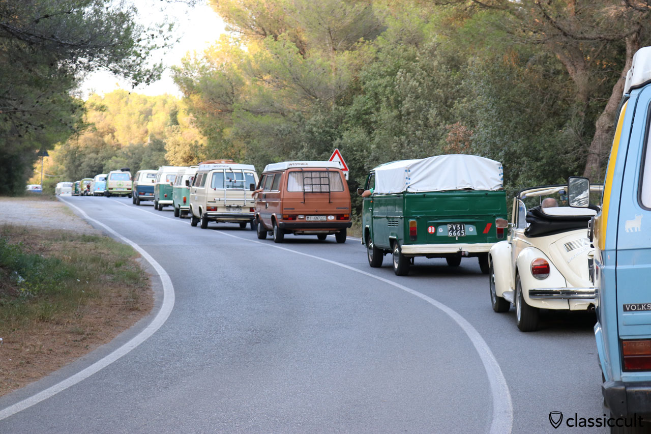 after cruise big aircooled VW traffic jam before Campground Terre Rosse Finale Ligure Italy