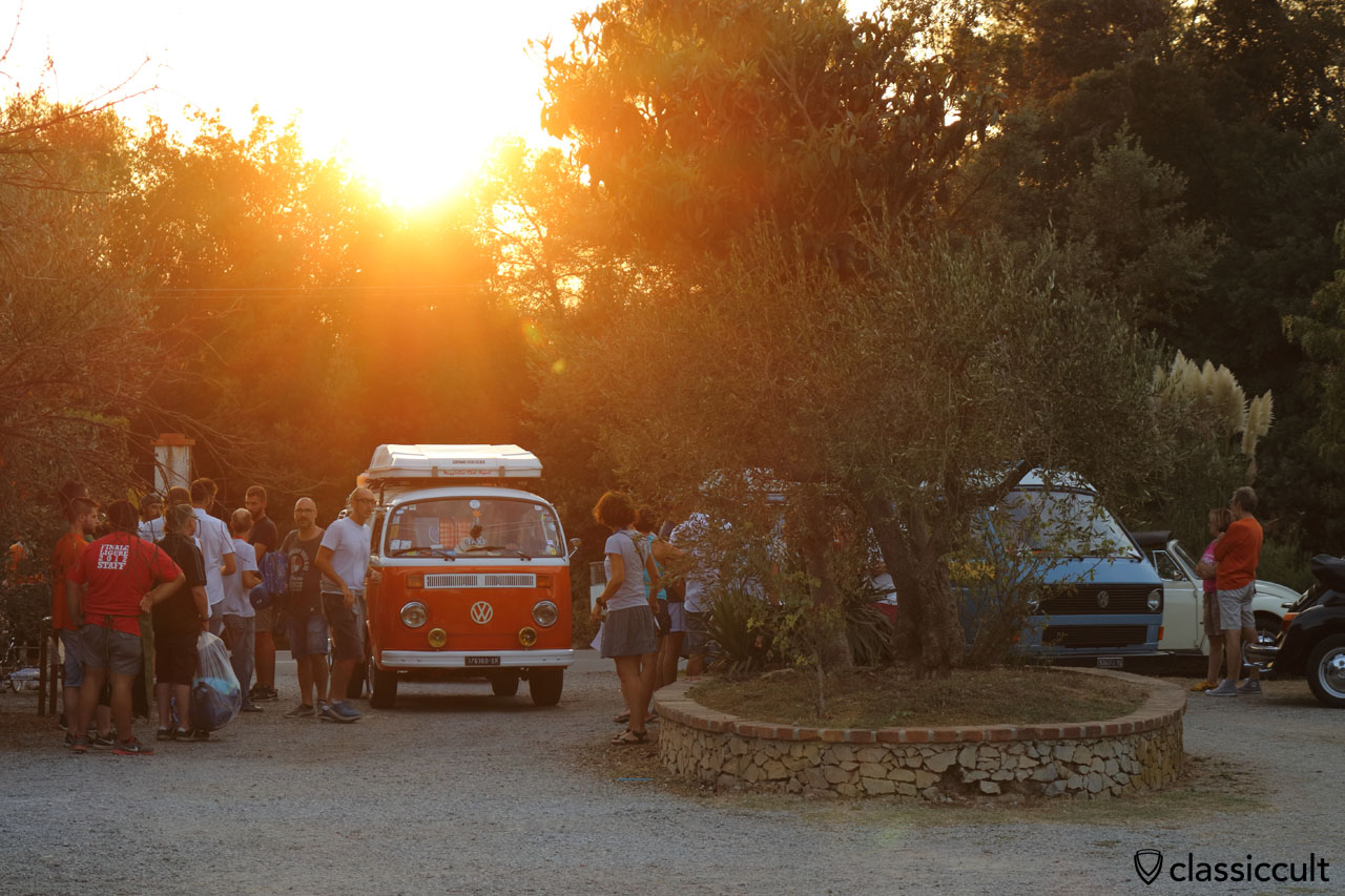 sunset at RiVWiera 3 VW Meeting, Camping Terre Rosse, Finale Ligure, Italy, 2016