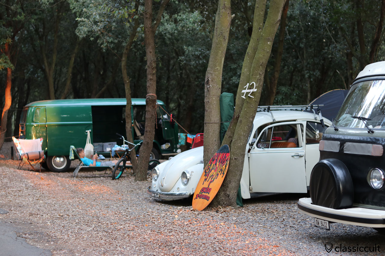 VW Fans at Terre Rosse Campground, Finale Ligure, Italy
