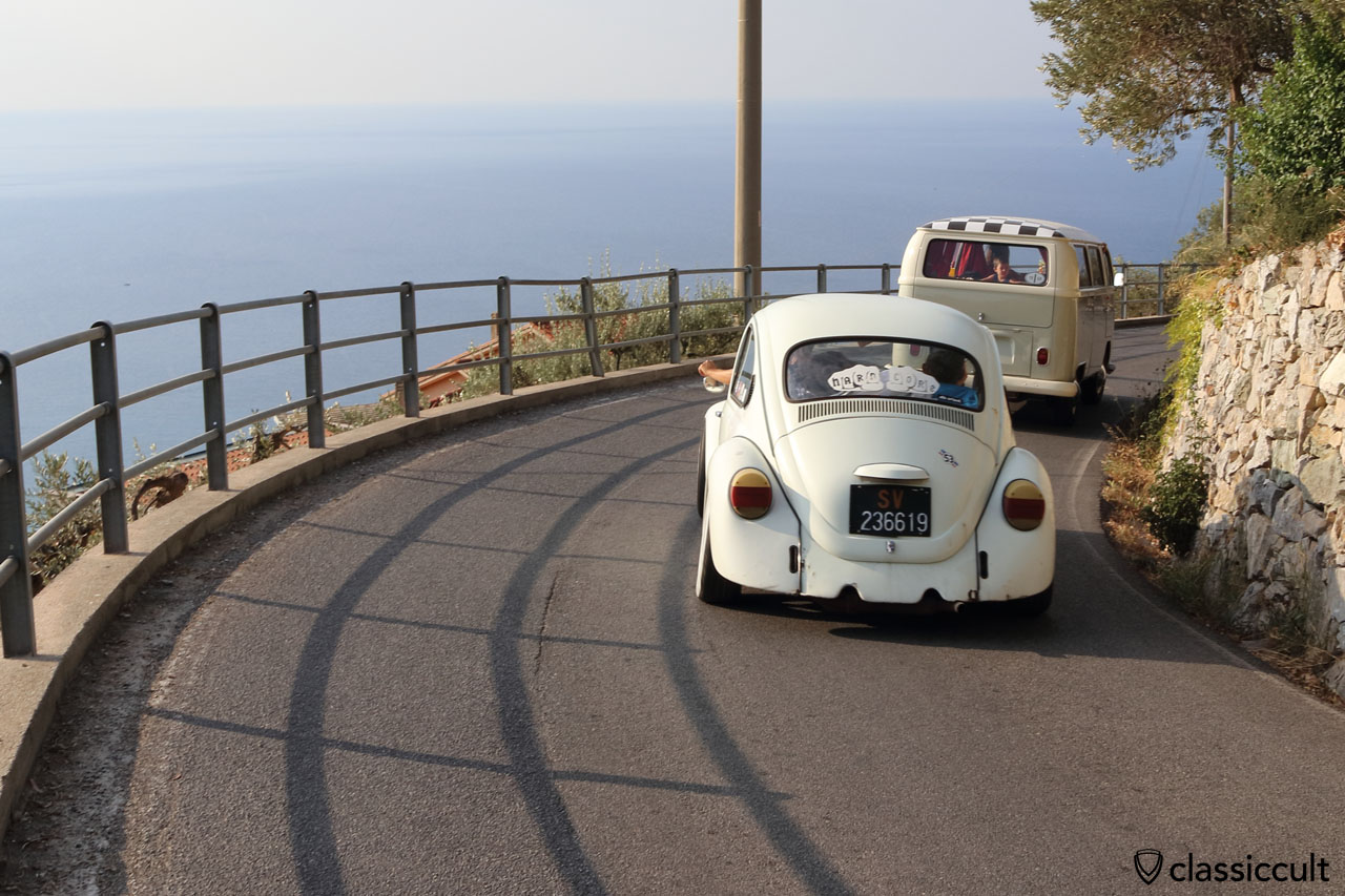 VW fans on the Italian Riviera coast road, Le Manie plateau, Finale Ligure, Italy, 2016